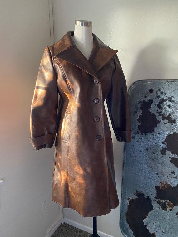 Vintage 70s Brown Vinyl Longline Coat/Jacket with