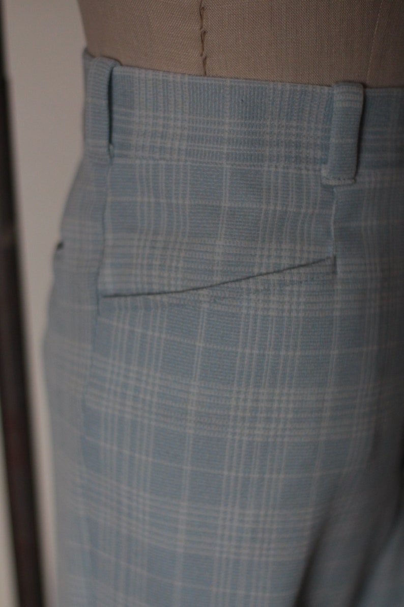 70s Vintage High Waisted Plaid Trousers; Wide Leg Polyester Pants; Vintage Light Blue and White Plaid Trousers