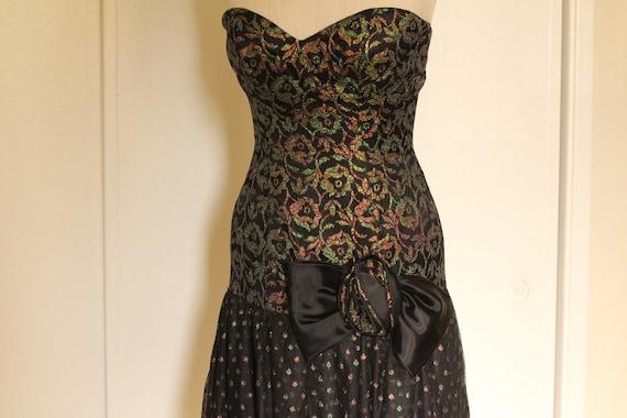 80s Metallic Prom Dress Strapless with Ruffled Tul