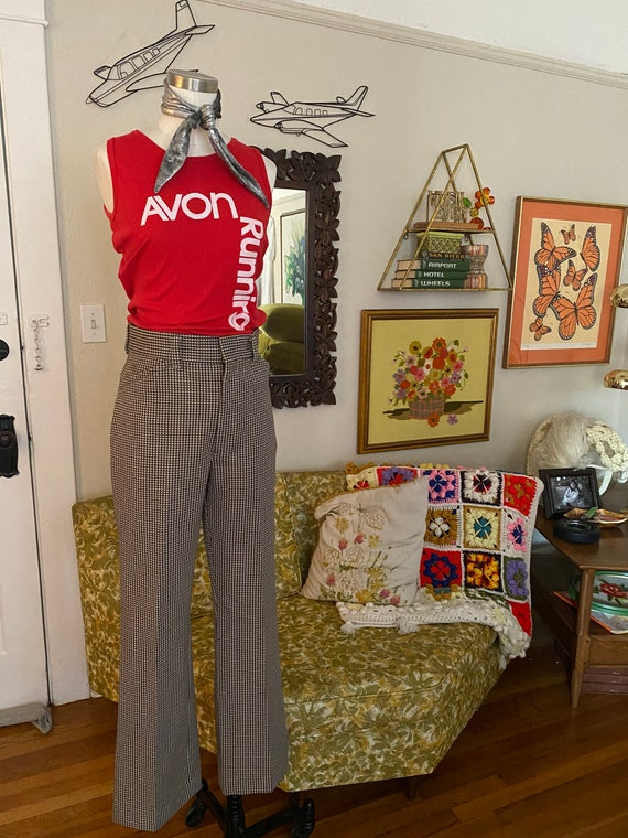 Vintage 70s High Waisted Brown, Yellow, and White… - image 5