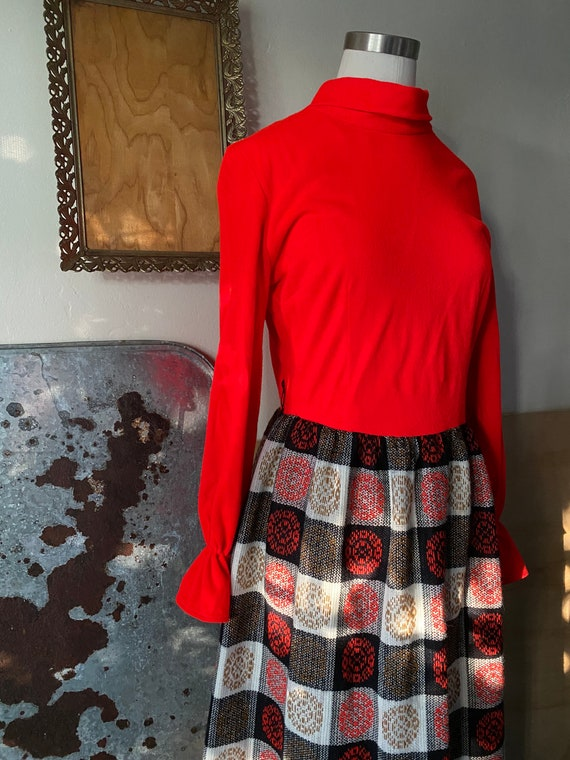 Vintage 60s Abstract Patchwork CheckerBoard Plaid… - image 2