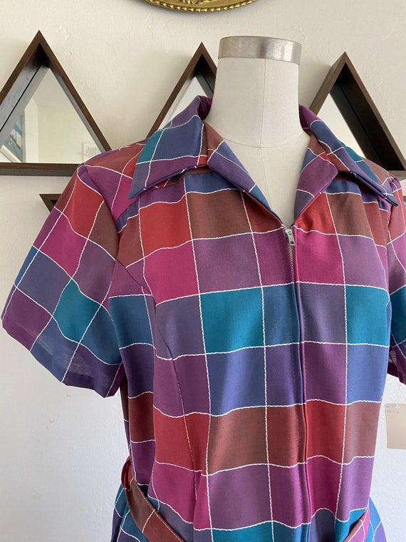 Vintage 70s Rainbow Colorblock Plaid Dropwaist Dre
