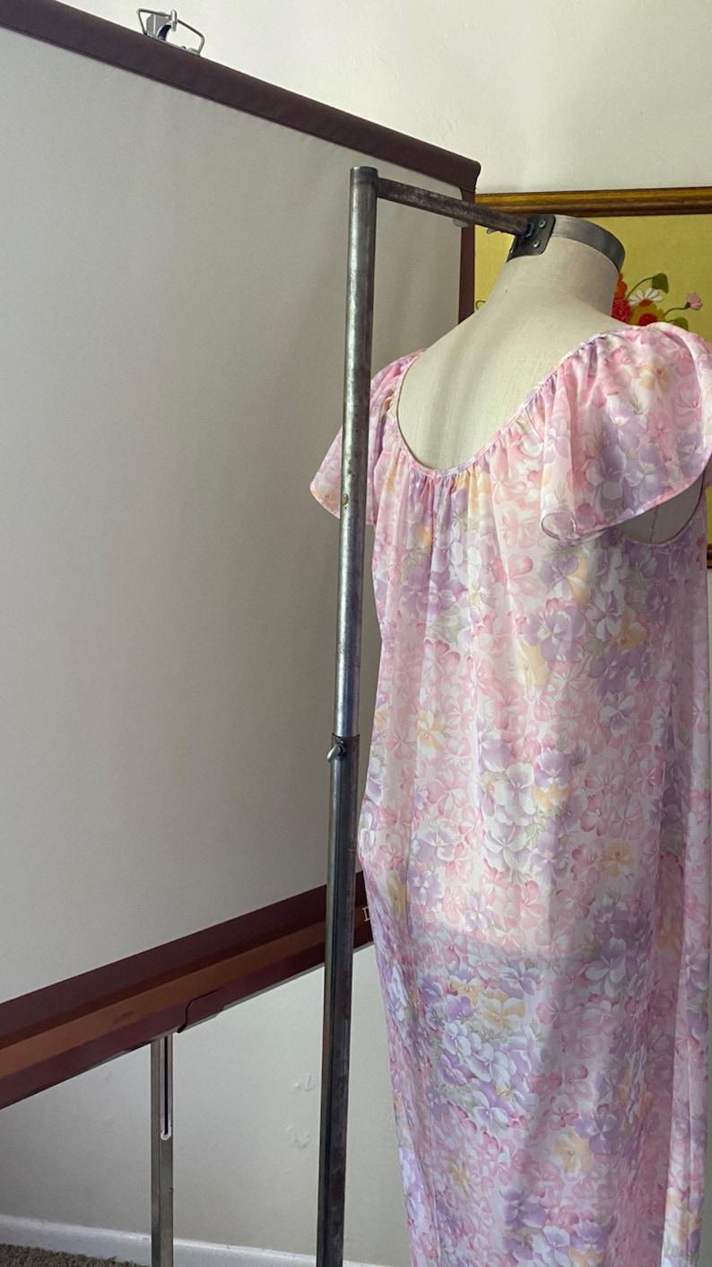 Vintage 90s Pastel Floral Nightie Tank Dress with Flutter Sleeves;  90s Satin Slip Dress Feminine Floral Nightgown