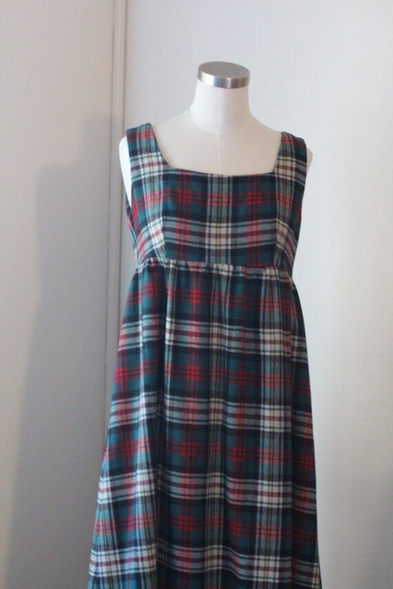 70s Vintage Plaid Maxi Dress; Red, Green, and Whi… - image 6