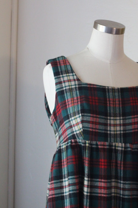 70s Vintage Plaid Maxi Dress; Red, Green, and Whi… - image 2
