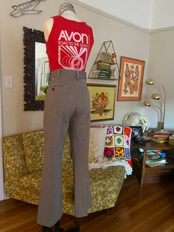 Vintage 70s High Waisted Brown, Yellow, and White… - image 1