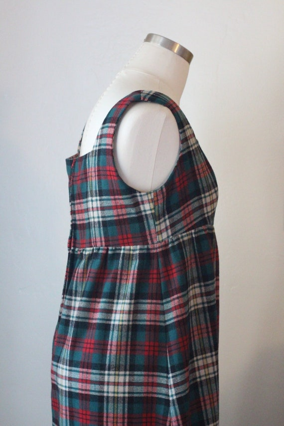 70s Vintage Plaid Maxi Dress; Red, Green, and Whi… - image 3