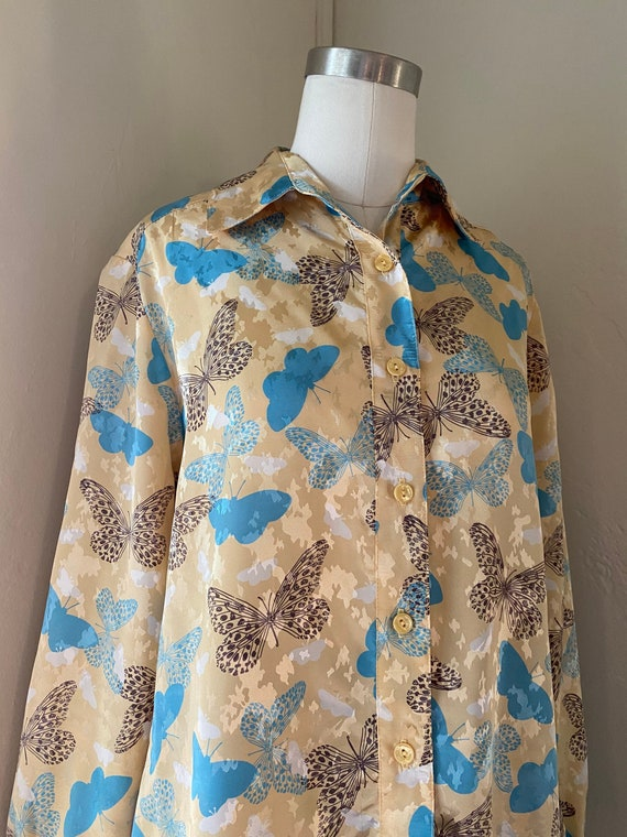 Vintage 70s Fall Butterfly Embossed Blouse with Da
