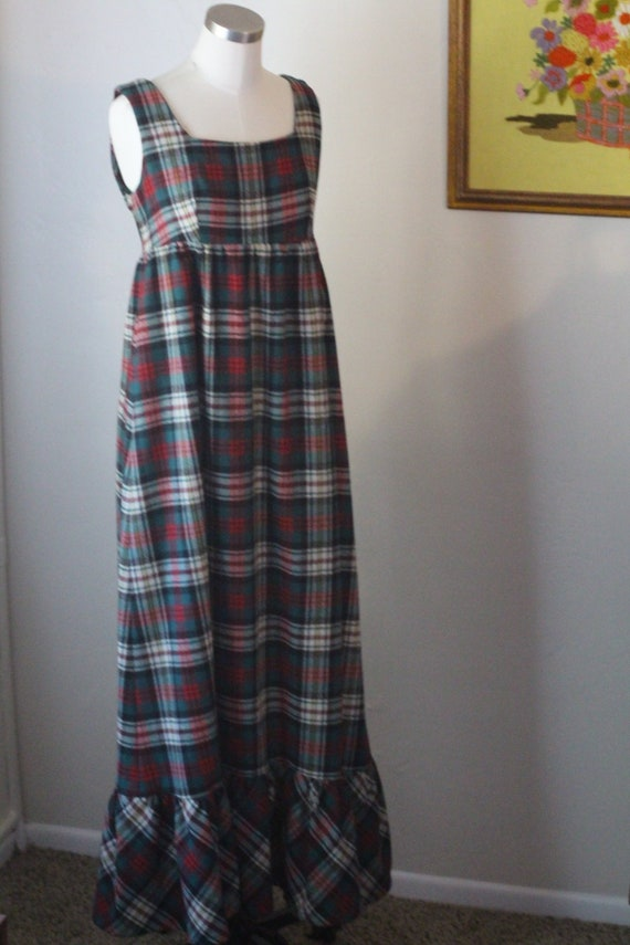 70s Vintage Plaid Maxi Dress; Red, Green, and Whi… - image 5
