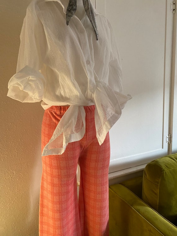Vintage 70s High Waisted Polyester Plaid Trousers… - image 2