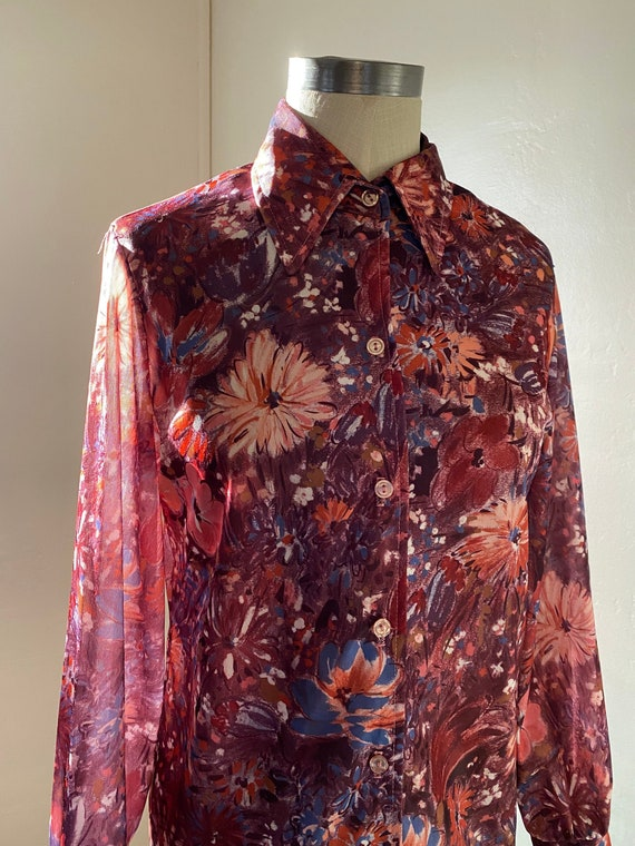 Vintage 70s Abstract Fall Watercolor Floral Blouse