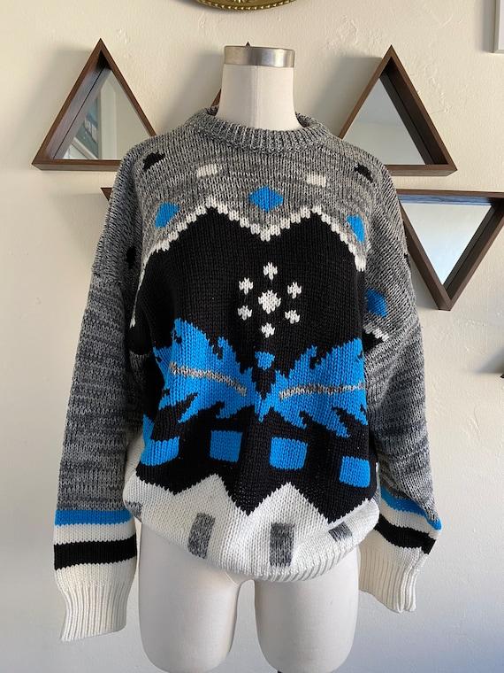 Vintage 80s Oversized Geometric Tribal Marled Swea