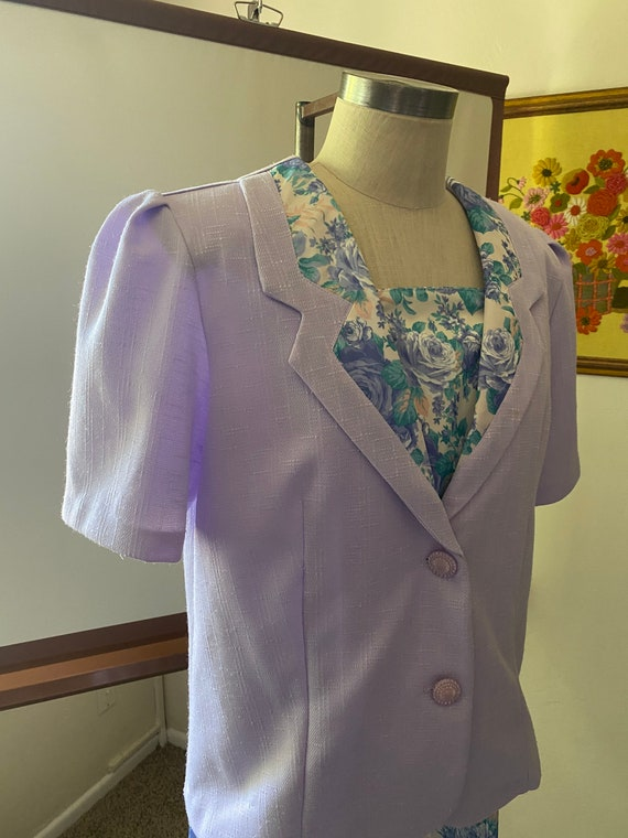 Vintage 80s Floral Matching Set with Blouse and Mi