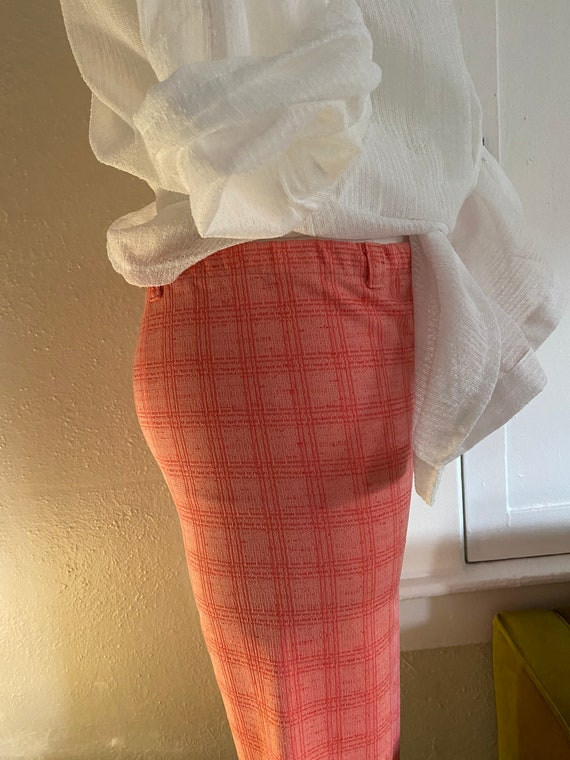Vintage 70s High Waisted Polyester Plaid Trousers… - image 5