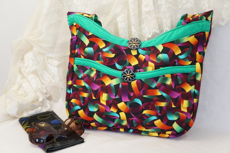 4d43040f20 Colorful Multi Colored Shoulder Bag Handmade Fabric Hobo