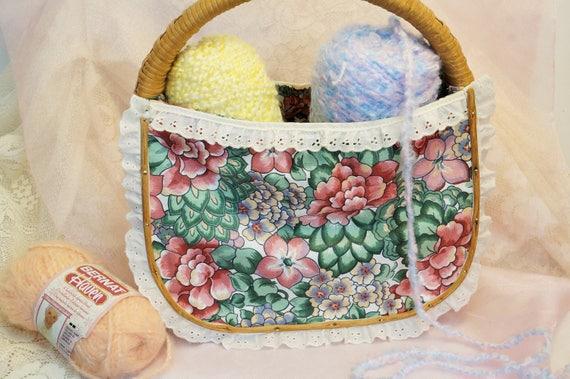 Fabric Basket Purse/Mid Century Sewing Basket/Refu