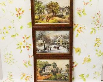 Currier & Ives/Framed Prints/Homestead/Lithographs/Set Of Three/Seasons/Currier Ives Prints/Currier Ives/Small Prints/Curier Ives Homestead