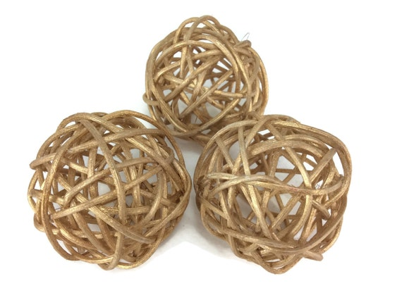 Rattan Ball Small Gold Craft Handmade Wedding Decorative Balls Etsy Beauteous Rattan Decorative Balls