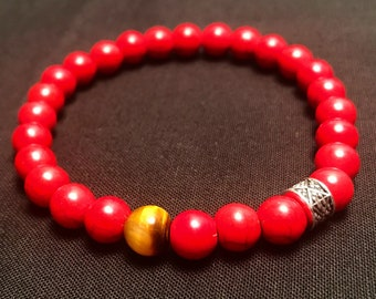 Red Howlite Beads in 8mm w/ TigersEye & Silver detail