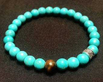 Turquoise Howlite in 8mm w/ TigersEye & Silver details