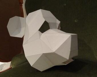 Make your own horse mask from cardboard digital download diy etsy pdf pattern diy halloween mask bear mask panda mask 3d mask animal mask maxwellsz