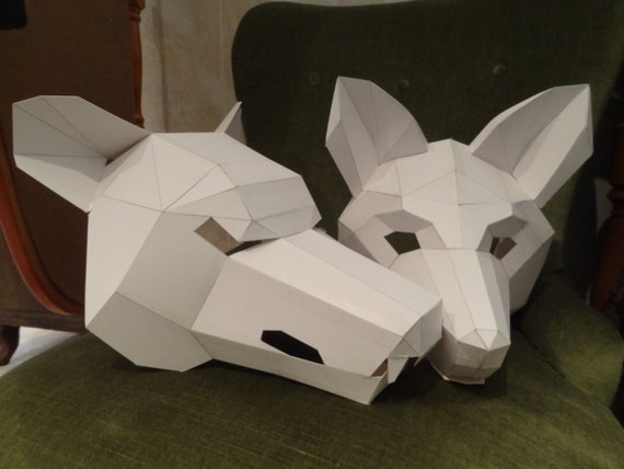 Make your own wolf mask fox mask instant download diy etsy image 0 maxwellsz