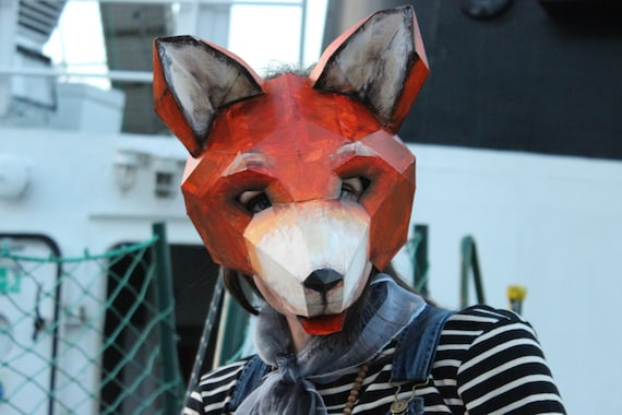 make your own wolf mask fox mask instant download diy etsy