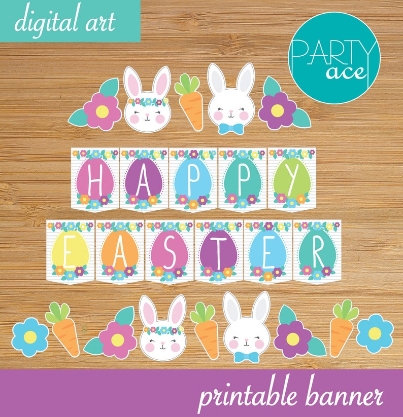 photograph regarding Happy Easter Sign Printable known as Joyful Easter Banner Signal Printable Easter Bouquets and Bunnies Social gathering Decoration