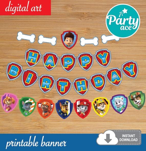 Paw Patrol Birthday Party Printable Banner Decoration