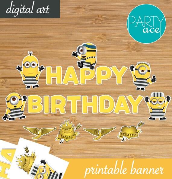 "Items Similar To Minions Prison ""Happy Birthday"" Banner"