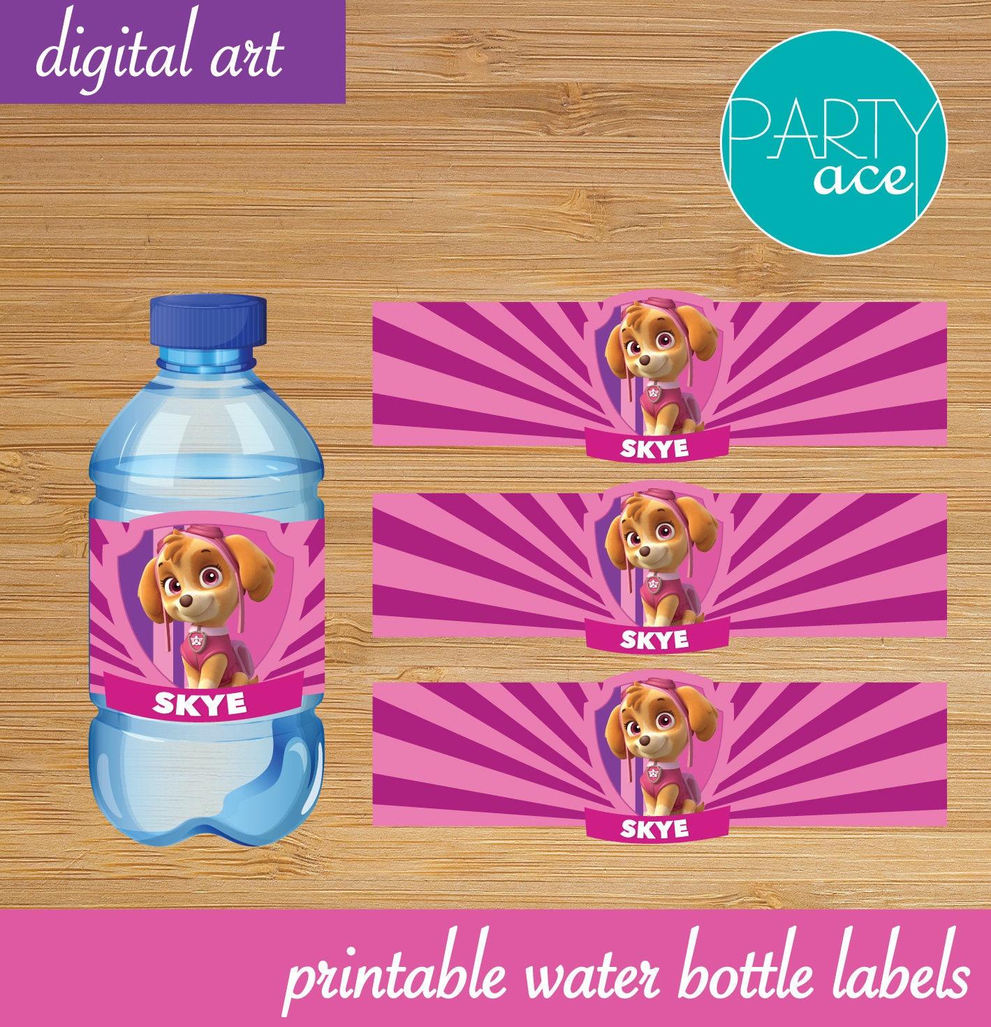 Skye Water Bottle labels Paw Patrol Printable Happy Birthday   Etsy