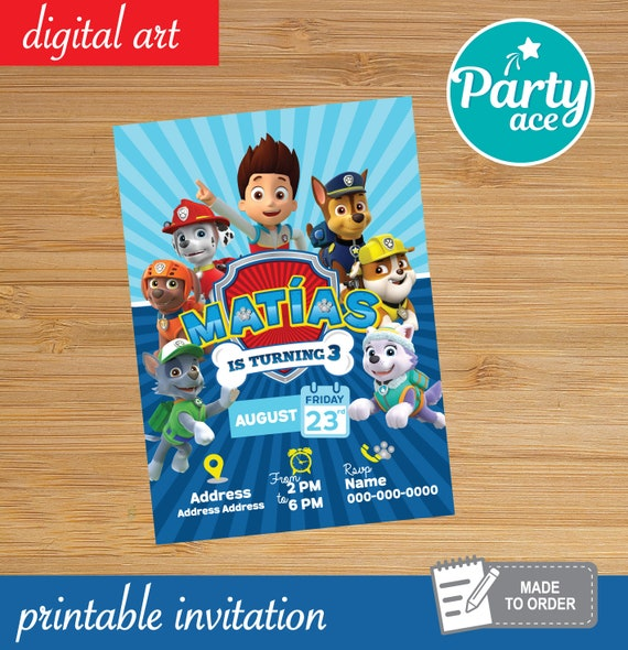 photograph regarding Paw Patrol Printable Invitations referred to as Paw Patrol Birthday Bash Printable Invitation Marshall Rocky Chase Rubble Everest Skye Zuma Tracker
