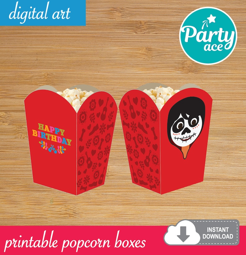 Coco Printable Popcorn Favor Candy Snack Box Mexican Birthday Party