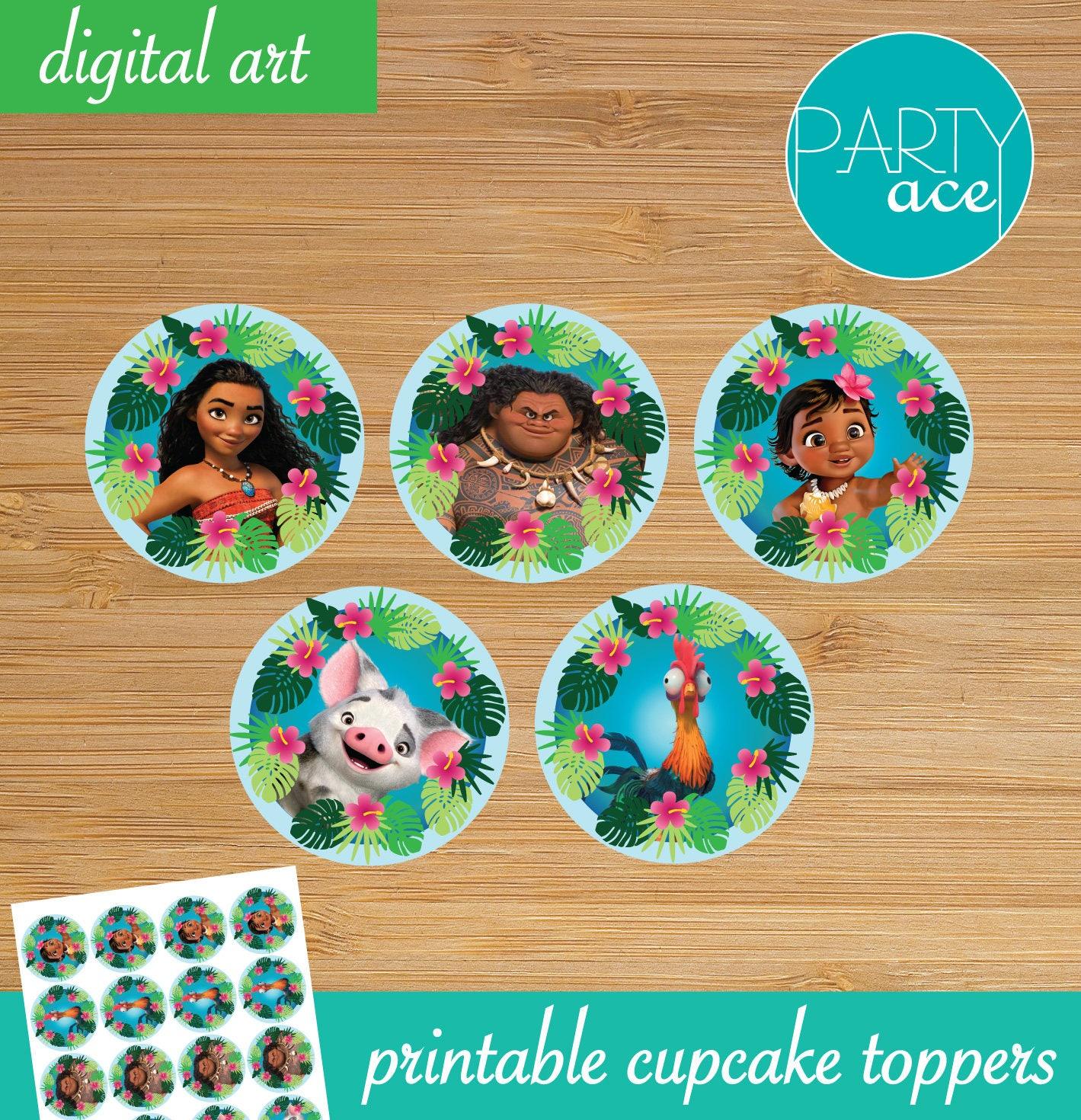 Moana Printable Cupcake Toppers Returns the heart of Te | Etsy