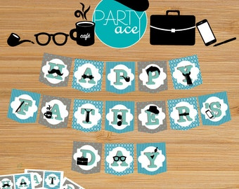 Happy Father's Day Banner Office Mustache Coffee Printable Party Decoration For Him