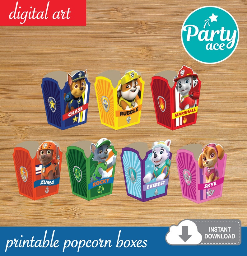 photograph about Paw Patrol Printable Birthday named Paw Patrol Popcorn Desire Sweet Containers Printable Birthday Get together Decoration Marshall Rocky Chase Rubble Everest Skye Zuma