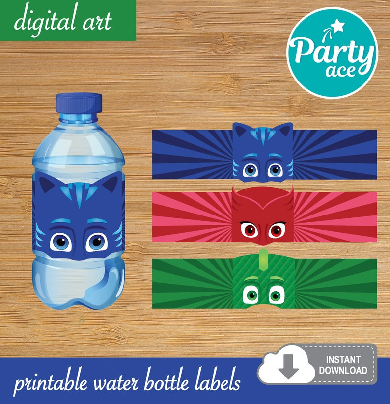 image relating to Printable Water Bottle Labels identified as PJ Masks Birthday Bash Printable Drinking water Bottle Labels