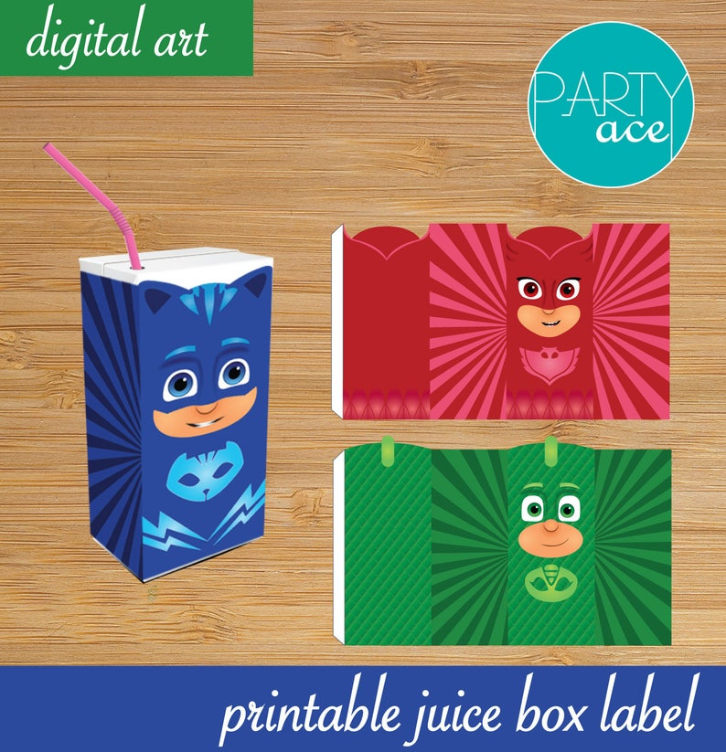 photo about Pj Mask Printable titled PJ Masks Birthday Celebration Printable Juice Box Labels