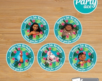 """Moana Printable Thank You Tags Cards """"Returns the heart of Te Fiti"""" Birthday Party Hawaiian Summer Party Decoration"""