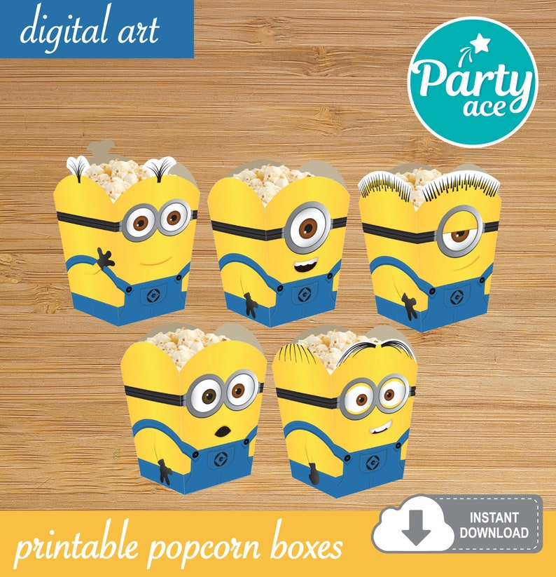 graphic about Minions Printable named Minions Popcorn Prefer Sweet Box Despicable Me Printable Celebration Decoration