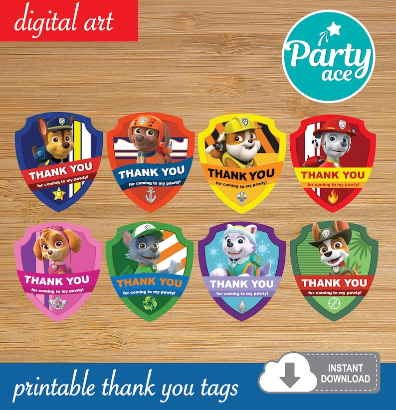 photograph regarding Printable Paw Patrol identify Paw Patrol Birthday Celebration Printable Thank Yourself Tags Birthday Want Luggage Decoration Marshall Rocky Chase Rubble Everest Skye Zuma Tracker