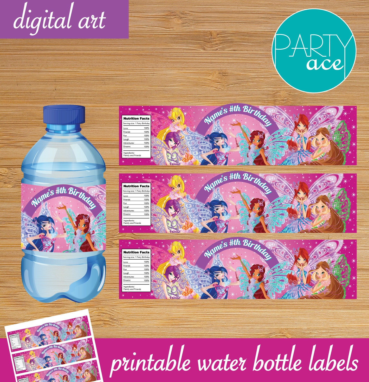 Winx Club Water Bottle Labels Printable Labels Fairy Birthday   Etsy