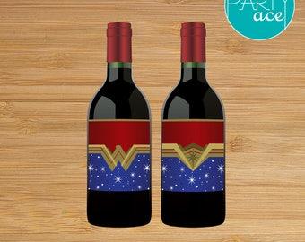 Wonder Woman Printable Mini Wine Bottle Labels Wonder Woman Birthday Party Superhero Birthday Party Decoration Marvel