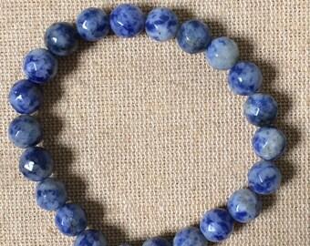 Blue earth beaded bracelet