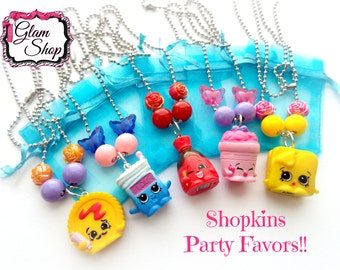 Shopkins Party Favor Necklaces -Shopkins Birthday -Shopkins Charm Party Favor Birthday Gifts -Random Selection, You Choose Quantity