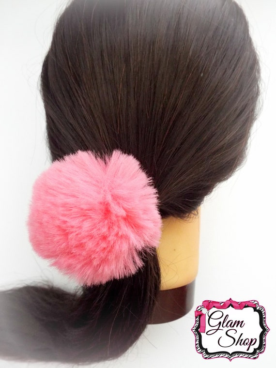 Pom Pom Hair Ties 1 PICK ONE COLOR 2.5 Furry Puff  d025024c1d7