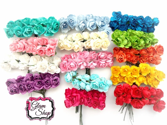 Bunch Of 12 Mini Flowers Pick Your Color Paper Roses Tiny Etsy