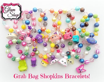 Shopkins Party Favor Bracelets Grab Bag! You pick Quantity -Shopkins Birthday -Shopkins Charm Party Favor Birthday Gifts -Random Selection