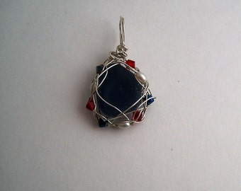 Wire Wrapped Sea Gl   Genuine Sea Glass Wire Wrapped Christmas Tree Pendant 353 Etsy