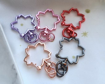 Keychain Clasps - Flowers: Rose Gold || Pink || Gunmetal || Red || Purple